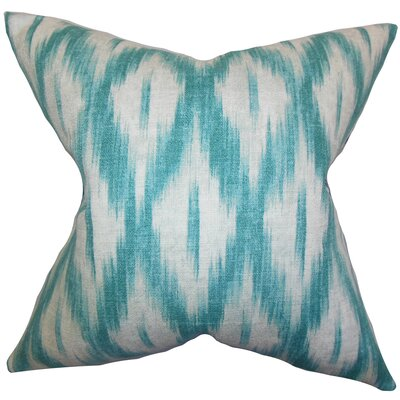 Maselli Ikat Cotton Throw Pillow Size: 18x18, Color: CARRIBEAN