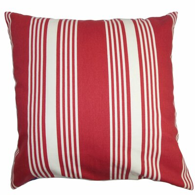 Perri Stripes Cotton Throw Pillow Cover Size: 18 x 18, Color: Red
