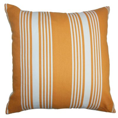 Perri Stripes Cotton Throw Pillow Cover Size: 18 x 18, Color: Tangerine