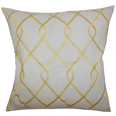 Jolo Geometric Linen Throw Pillow Color: Yellow, Size: 18 x 18