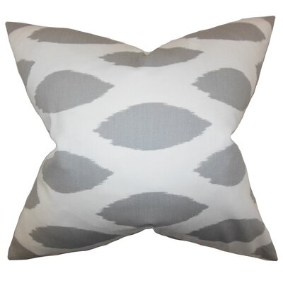 Juliaca Ikat Throw Pillow Color: White Gray, Size: 18 H x 18 W