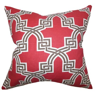 Letha Geometric Cotton Throw Pillow Cover Color: Red