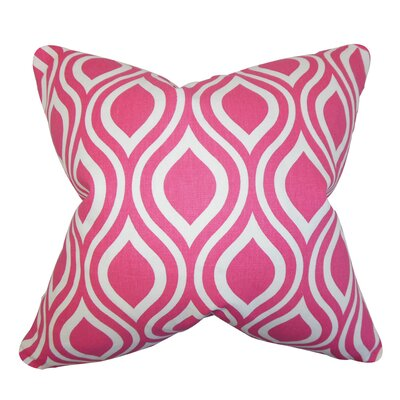 Poplar Geometric Cotton Throw Pillow Color: Candy Pink, Size: 18 x 18