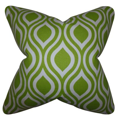 Haley Geometric Cotton Throw Pillow Color: Chartreuse, Size: 18 x 18