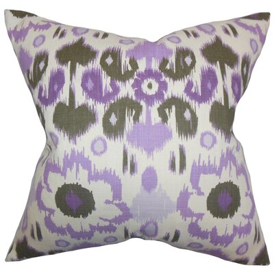 Spiers Ikat Cotton Throw Pillow Color: Purple, Size: 18 x 18