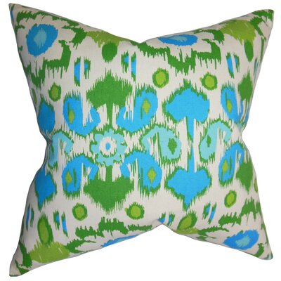 Spiers Ikat Cotton Throw Pillow Color: Blue, Size: 24 x 24