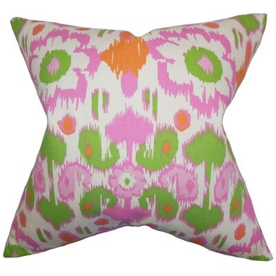 Spiers Ikat Cotton Throw Pillow Color: Green Pink, Size: 18 x 18