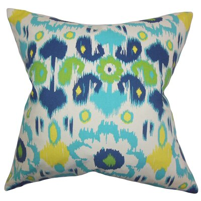 Spiers Ikat Cotton Throw Pillow Color: Blue Green, Size: 18 x 18