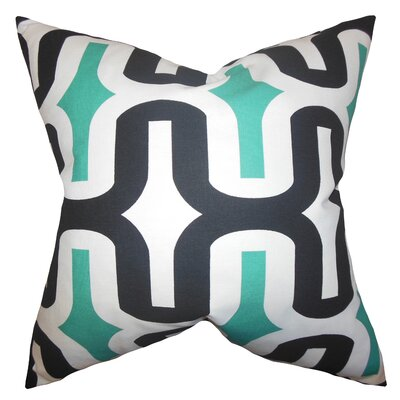 Libbie Cotton Throw Pillow Cover Color: Jade, Size: 18 H x 18 W