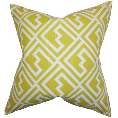 Rhodes Geometric Cotton Throw Pillow Color: Green, Size: 22 x 22