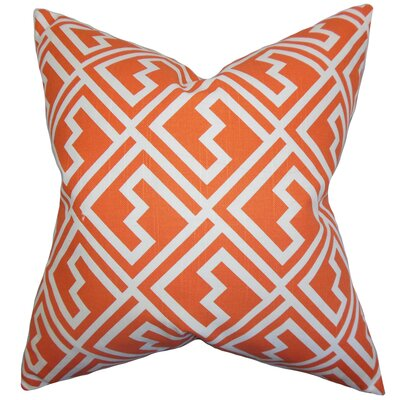Rhodes Geometric Cotton Throw Pillow Color: Tangerine, Size: 22 x 22