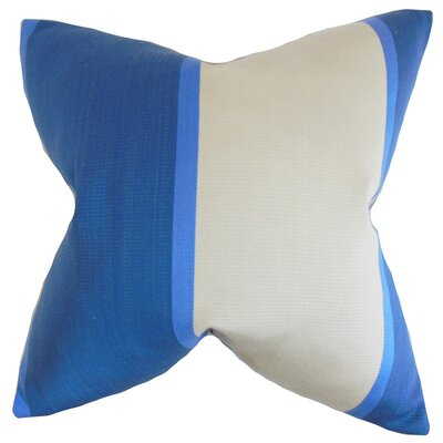 Neima Stripes Cotton Throw Pillow Cover Color: Blue White