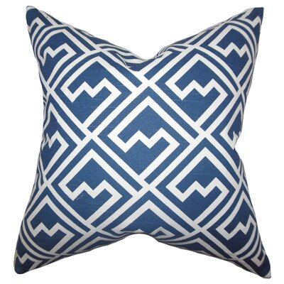 Rhodes Geometric Cotton Throw Pillow Color: Blue White, Size: 18 x 18