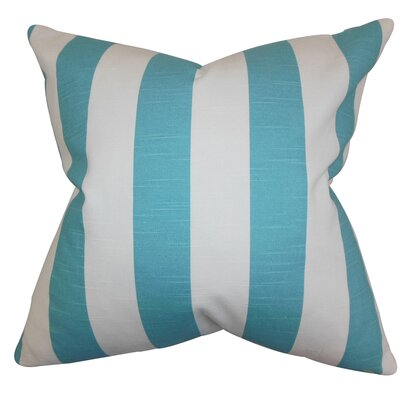 Acantha Stripes Cotton Throw Pillow Cover Color: Coastal Blue