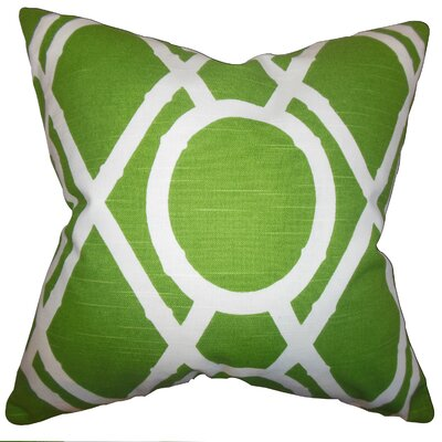 Whit Geometric Cotton Throw Pillow Color: Green, Size: 18 x 18