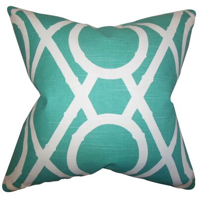 Whit Geometric Cotton Throw Pillow Color: Pool, Size: 18 x 18