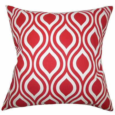 Haley Geometric Cotton Throw Pillow Color: Red, Size: 22 x 22