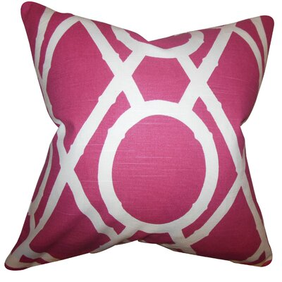 Whit Geometric Cotton Throw Pillow Color: Raspberry, Size: 22 x 22