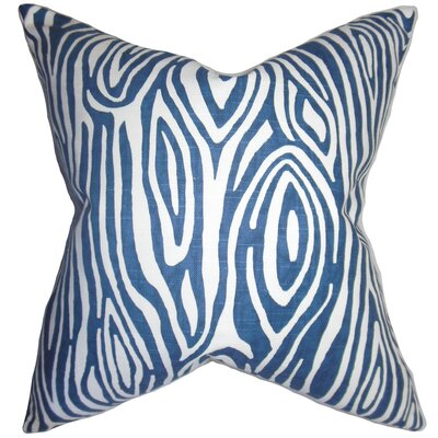 Thirza Swirls Cotton Throw Pillow Color: Blue, Size: 18 x 18
