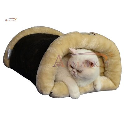 2 in 1 Cat Bed and Mat Color: Mocha and Beige
