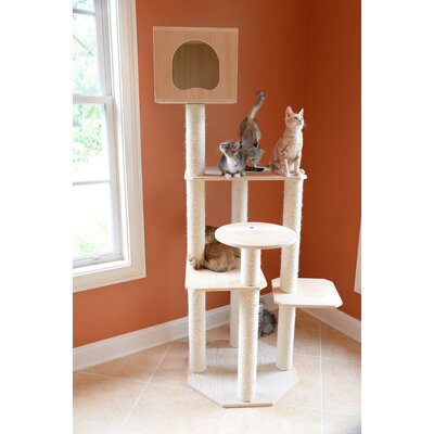 69 Premium Pinus Sylvestris Solid Wood Cat Tree