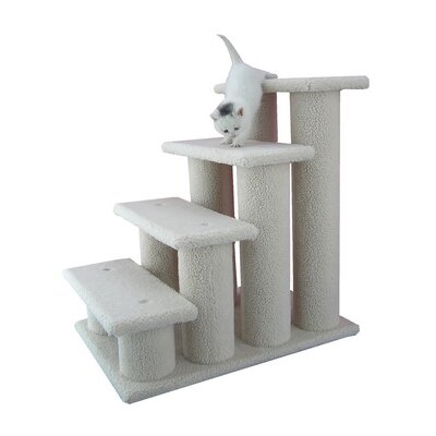 Armarkat 25 Faux Fleece Four-Step Cat Tree in Ivory
