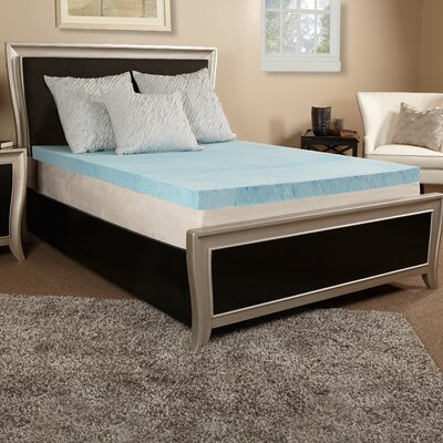 2 Gel Memory Foam Mattress Topper Size: Twin