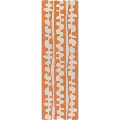 Decorativa Hand-Tufted Orange/Neutral Area Rug Rug Size: Runner 26 x 8