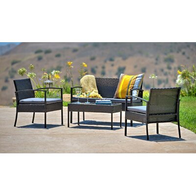 4 Piece Patio Sofa Set With Cushions Frame Color: Dark Brown, Cushion Color: Gray