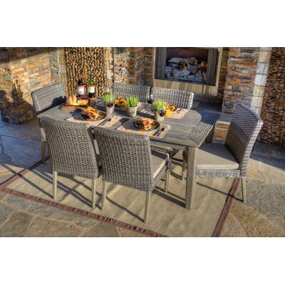 Winchester 7 Piece Dining Set with Cushion Finish: Grey