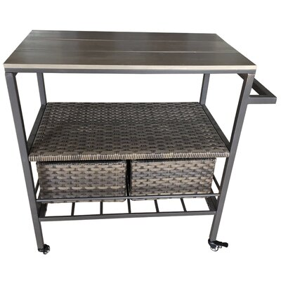 Amabilia Wicker Rolling Bar Cart