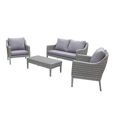 Teneyck Outdoor Wicker Conversation 4 Piece Deep Seating Group With Cushion