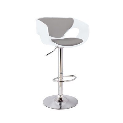 Kimbro Adjustable Height Swivel Bar Stool Base Color: Chrome, Uplolstery: White/Gray