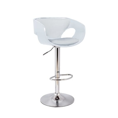 Kimbro Adjustable Height Swivel Bar Stool Base Color: Chrome, Uplolstery: White/Silver