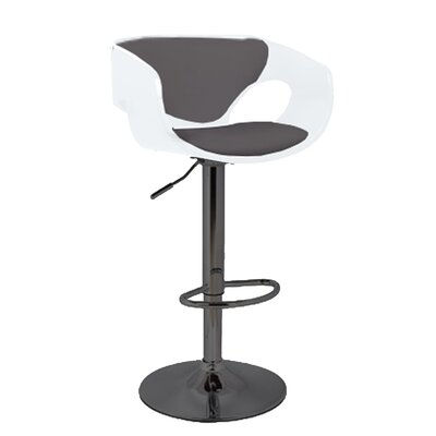 Kimbro Adjustable Height Swivel Bar Stool Base Color: Black, Uplolstery: White/Black