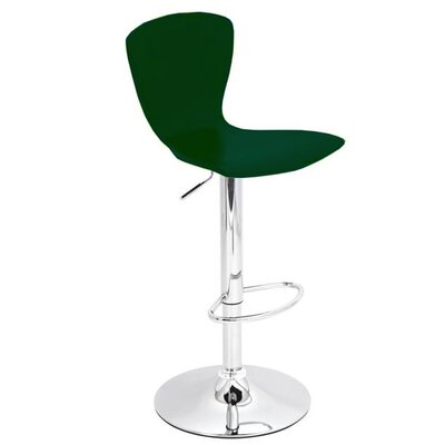 Ranson Adjustable Height Swivel Bar Stool Base Color: Chrome, Uplolstery: Spruce