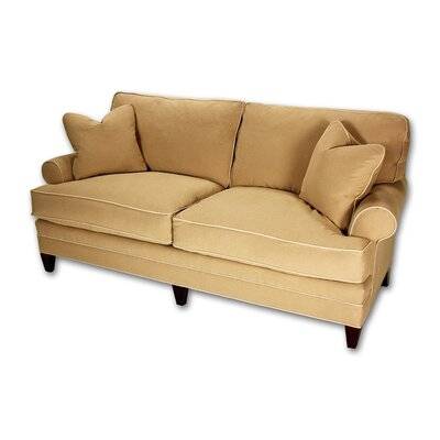 Short Loose Pillow Back Sofa Upholstery: Lindy Aruba, Toss Pillow Color: Rosella Tango