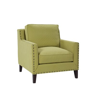 Modern Track Armchair with Tapered Leg Color: Dune Kiwi, Upholstery Color: Nickel