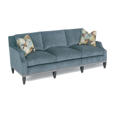 Modern Notch Armed Sofa Nailhead: Bronze, Toss Pillow Color: Pace Prussion Blue, Upholstery: Pace Prussion Blue