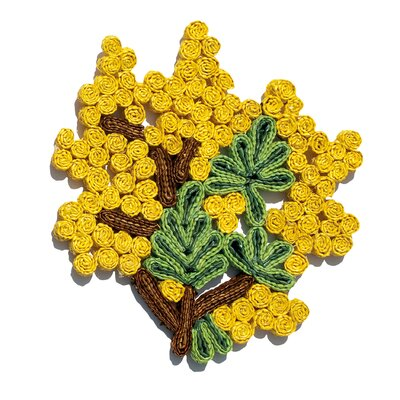 Florigraphie Mimosa Straw Pot Holder 00430 MIM