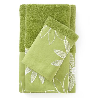 Daisy Stitch 3 Piece Towel Set Color: Lime