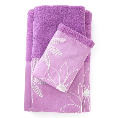 Daisy Stitch 3 Piece Towel Set Color: Lilac