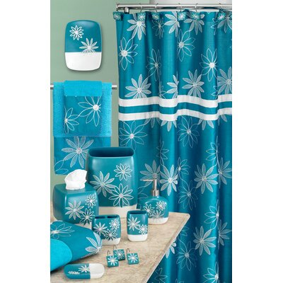 Daisy Stitch Shower Curtain Color: Turquoise