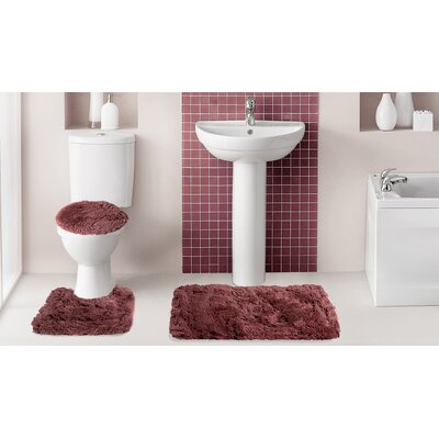 Fluff�3 Piece Bath Rug Set Color: Burgundy