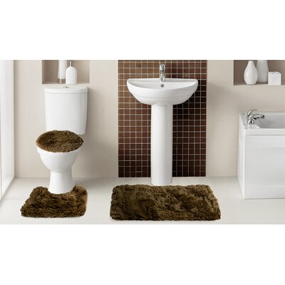 Fluff�3 Piece Bath Rug Set Color: Chocolate