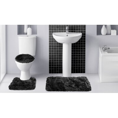 Fluff�3 Piece Bath Rug Set Color: Black