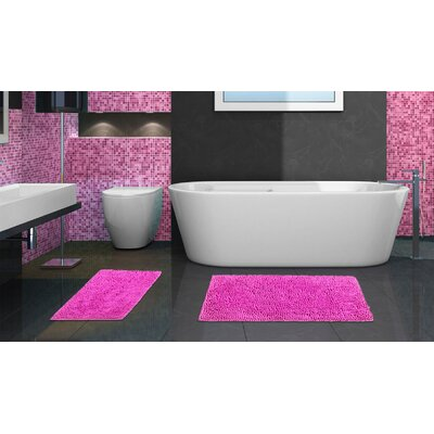 2 Piece Chenille Bath Rug Set Color: Fuchsia