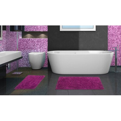 2 Piece Chenille Bath Rug Set Color: Purple