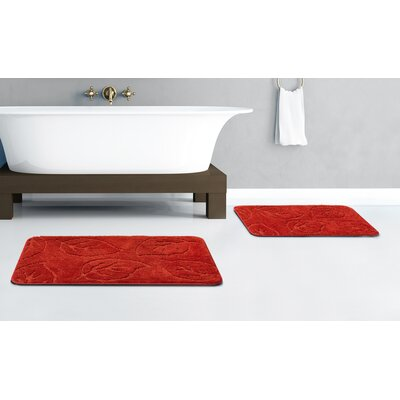 Falling Leaves 2 Piece Bath Rug Set Color: Red