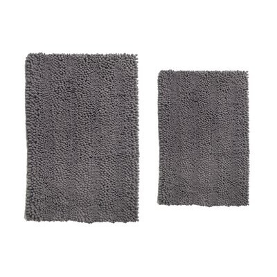 Aldante Chenille 2 Piece Rug Set Color: Light Charcoal
